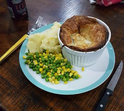 Rabbit and mushroom pie